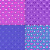 Pastel set of heart patterns Royalty Free Stock Photos