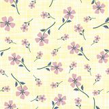 Pastel smoky pink hand drawn flowers on watercolour effect etched yellow background. Seamless vector pattern with. Vintage vibe. Perfect for packaging, wellness vector illustration