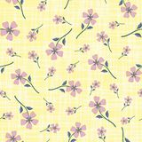 Pastel smoky pink hand drawn flowers on watercolour effect etched yellow background. Seamless vector pattern with. Vintage vibe. Perfect for packaging, wellness royalty free illustration