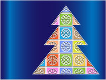 Pastel snowflakes bounded contour tree Royalty Free Stock Image