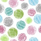 Pastel soft color colorful geometric circle forms seamless pattern. Hand drawing round artistic grunge stroke figure. Vector crayon, chalk or pencil sphere Stock Photography