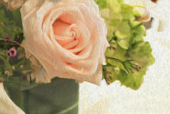 Pastel soft detail textured  floral impressionism style art. Abstract pastel pink rose blossom   brush stroke textured oil painting Royalty Free Stock Photos