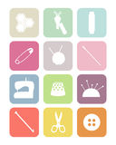 Pastel square sewing icons Royalty Free Stock Photo