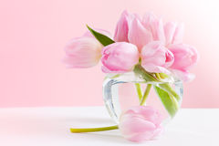Pastel still life with tulips stock images