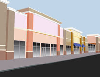 Pastel storefront mall. Soft pastel colored strip mall in shades of coral, beige, and brown