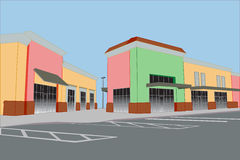 Pastel strip mall. Bold pastel colored strip mall with awnings