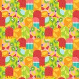 Pastel summer fruit popsicle pattern seamless vector illustration