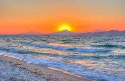 Pastel sunset. Sunset at the Aegean sea Royalty Free Stock Photo