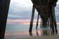 Pastel Sunset from Under the Port Noarlunga Jetty, SA - Angled Royalty Free Stock Photo