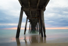 Pastel Sunset from Under the Port Noarlunga Jetty, SA Royalty Free Stock Photography