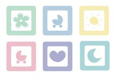 Pastel sweet baby vector icons with polka dots. Sweet, pastel icons with polka dots; vector isolated on white background. Sun, moon, heart, flower and pram Royalty Free Stock Photography