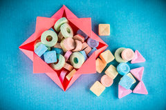 Pastel sweet candy in box Stock Photo