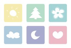 Pastel sweet icons: sun moon tree heart flower. Sweet, pastel vector icons isolated on white background. Sun, moon, cloud, tree, heart and flower Stock Photo