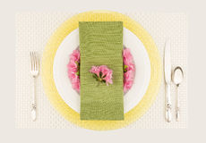 Pastel table setting top view Royalty Free Stock Images