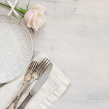 Pastel tableware set Stock Images