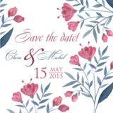 Pastel tiré par la main d'invitation de mariage d'aquarelle Image stock