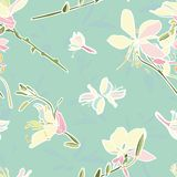 Turquoise floral vector pattern with lily. royalty free illustration