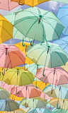 Pastel Umbrellas in sunshine day Royalty Free Stock Photos