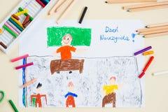 Pastel van leraar in schoolklasse Stock Foto's