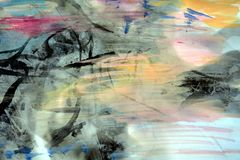 Pastel watercolor abstract background and wax Stock Image