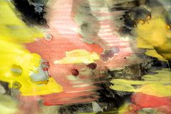 Pastel watercolor background and wax in orange yellow hues Stock Photography