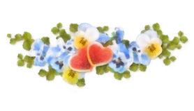 Pastel and watercolor painting flowers and hearts Stock Photo