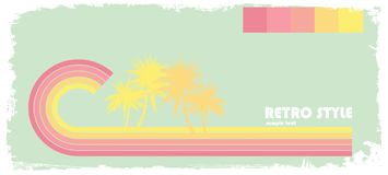 Pastel wave with palms. Retro style pastel wave with palms with frame Royalty Free Stock Images