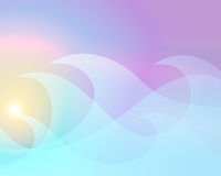 Pastel waves. An illustration of a pastel sunrise through ice blue waves Stock Photo