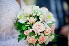 Pastel wedding bouquet with roses. Colorful wedding bouquet with roses and alstromeria Stock Photography
