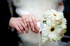 Pastel wedding bouquet with roses in hands Royalty Free Stock Photo