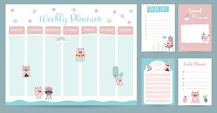 Pastel 2019 weekly calendar planner with pig,rainbow,gift,cactus,glasses and cupcake royalty free illustration
