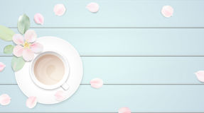 Pastel white morning background vector illustration with coffee cup Stock Photo