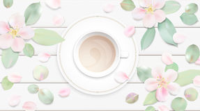 Pastel white morning background vector illustration with coffee cup Stock Image