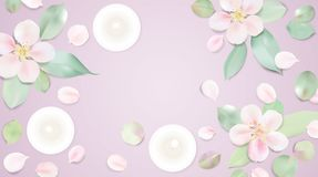 Pastel white relax background vector illustration with candle. Pastel white relax background. Candles and rose flower petals on purple table top view. Soft color Stock Photos