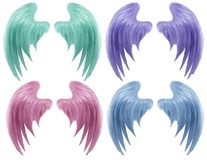 Pastel Wings. Four angel wings in various pastel shades, made in photoshop Stock Photos