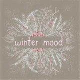 Pastel winter doodle wreath Stock Photos