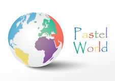Pastel world. With shadow on white background Stock Image