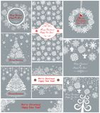 Pastel xmas greeting cards with paper snowflakes Royalty Free Stock Photography
