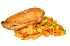 Pastel y Chips Meal Imagen de archivo libre de regalías