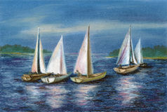 Pastel: yachts by the Obsky sea Stock Photography