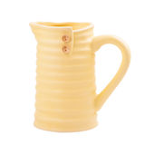 Pastel yellow ceramic flower pot Royalty Free Stock Image
