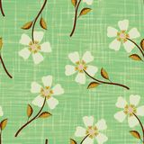 Pastel yellow hand drawn flowers on watercolour effect etched green background. Seamless vector pattern with vintage. Vibe. Perfect for packaging, wellness royalty free illustration