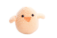 Yellow  handmade stuffed animal chick Stock Images