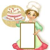 Pastelaria da mulher do cozinheiro chefe com torta enchida ilustração royalty free