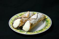 Pastelaria siciliano típica de Cannoli Fotografia de Stock