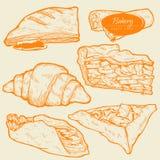 Pastelarias doces, bolo tradicional, galdéria e torta com fruto e enchimento da baga ilustração stock