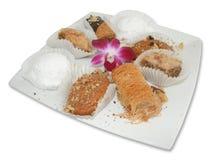 Pastelarias gregas com flor Imagem de Stock Royalty Free
