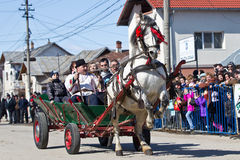 Pastele Cailor Festival. Image taken at the Tudorita festival in Targoviste, Romania. Tudorita or Pastele Cailor festival took place March 3. Horse and carrige Stock Image