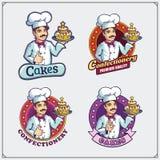 Pasteleiro com bolo Etiquetas, emblemas e logotipos Ilustração dos desenhos animados Fotos de Stock