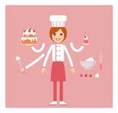 Pasteleiro da profissão fêmea Caráter para a animação Vetor Fotos de Stock Royalty Free